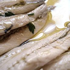 Fresh anchovies in Vinegar.
