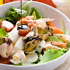 Seafood salad with Balsamic Vinegar.
