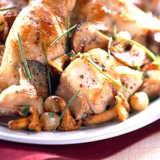 Rabbit with garlic and mushrooms
